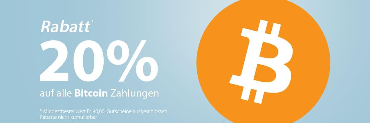 20% Rabatt auf alle Bitcoin Zahlungen!