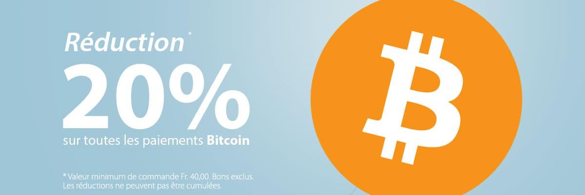 20% de réduction sur tous les paiements Bitcoin!